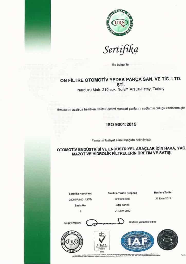 ISO 9001 Kalite Sertifikası TR Onfiltre