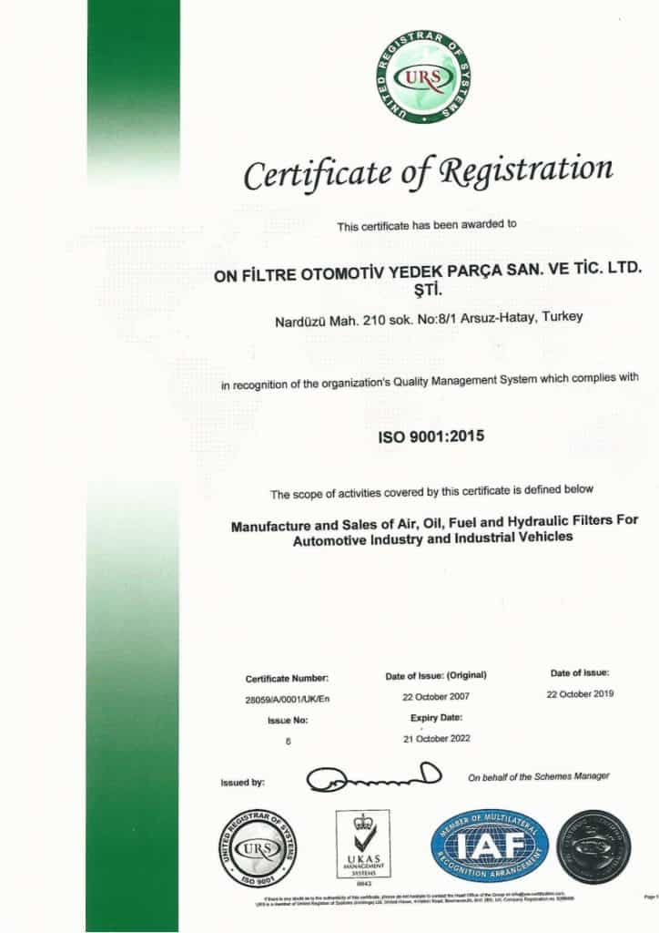 ISO 9001 Quality Certificate EN Onfiltre